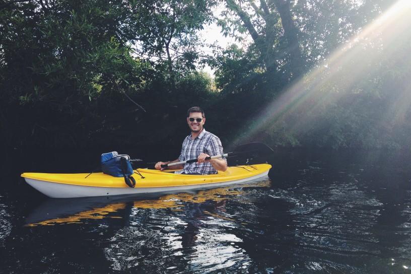 Man kayaking at Bethany lake park